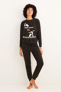Womensecret Длинная двусторонняя пижама «Снупи» черный
