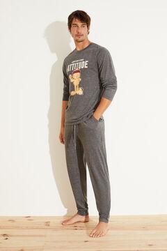 Womensecret Удлиненная хлопковая пижама с принтом «Гарфилд» серый