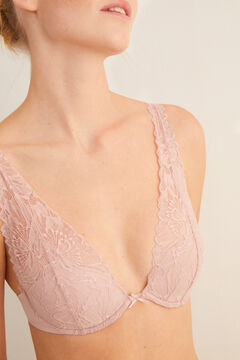 Womensecret Розовый бюстгальтер халтер из микрофибры и кружева с наполнителем розовый