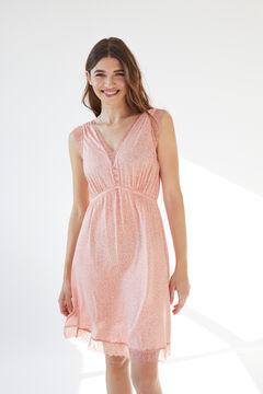 Womensecret Короткая ночная рубашка на бретелях с принтом с маленькими листьями розовый
