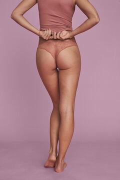 Womensecret Классические трусики из хлопка с кружевом оранжевого цвета коричневый