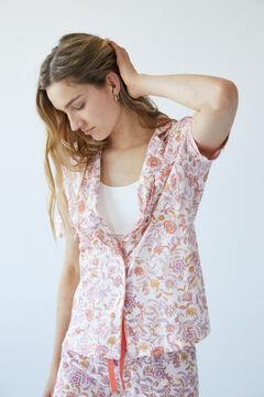 Womensecret Длинная хлопковая пижама с цветочным принтом розовый
