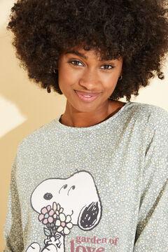 Womensecret Ночная рубашка из хлопка с принтом «Снупи» зеленый
