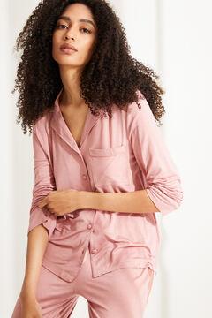 Womensecret Длинная пижама рубашечного кроя с кружевом розового цвета розовый
