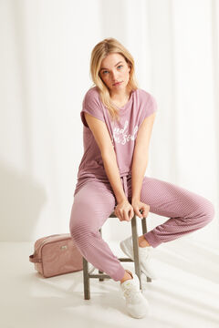 Womensecret Длинная пижама с короткими рукавами из невероятно мягкого трикотажа розового цвета розовый