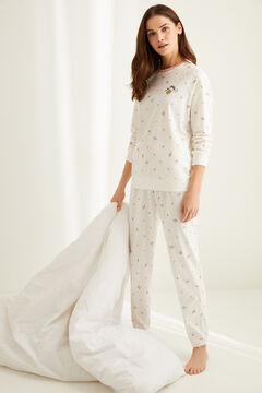 Womensecret Длинная хлопковая пижама Le Fruit бежевый