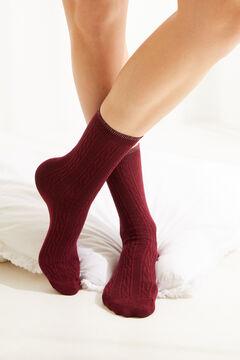 Womensecret Носки средней длины в рубчик красный