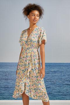 Womensecret Платье миди с цветочным принтом и воланами бежевый