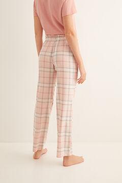 Womensecret Длинные пижамные брюки с клетчатым принтом розового цвета цветной