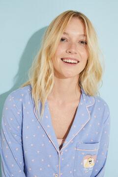 Womensecret Длинная пижама в рубашечном стиле из хлопка голубой