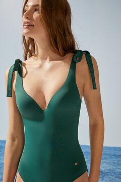 Womensecret Зеленый моделирующий купальник с треугольным вырезом и завязками зеленый
