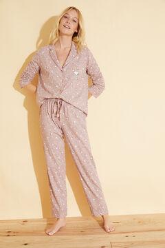 Womensecret Пижама в рубашечном стиле из хлопка с цветочным принтом «Снупи» розовый