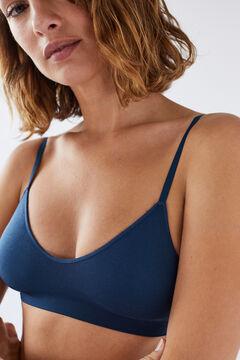 Womensecret NATURAL Бюстгальтер с треугольными чашками синего цвета голубой
