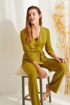 Womensecret Невероятно мягкая длинная пижама в рубчик горчичного цвета зеленый