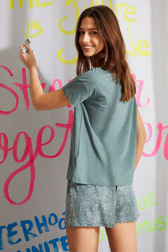 Womensecret Короткая пижама из органического хлопка с принтом зеленого цвета зеленый
