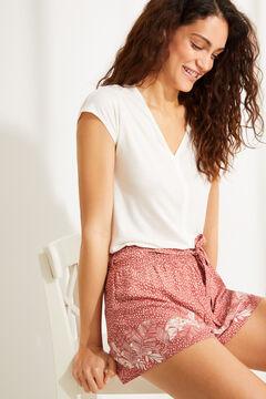 Womensecret Красные шорты с анималистичным принтом и орнаментальной каймой коричневый