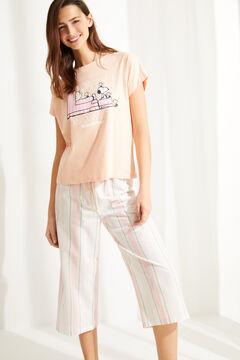 Womensecret Хлопковая пижама с брюками капри «Снупи» красный