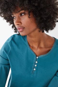 Womensecret Синяя футболка из хлопка с длинными рукавами и круглой горловиной на пуговицах голубой
