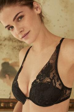 Womensecret INTUITIVE Черный бюстгальтер халтер с кружевом и наполнителем черный