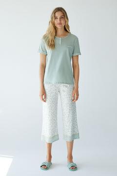 Womensecret Пижама с верхом с короткими рукавами и брюками капри из органического хлопка зеленый