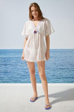 Womensecret Платье-туника с кружевом кроше  белый