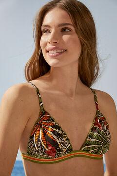 Womensecret Треугольный топ бикини с тропическим принтом цветной