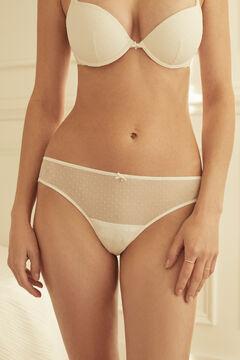 Womensecret Белые трусики-бразилиана из флокированного тюля и кружева белый