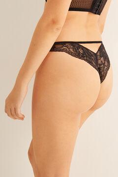 Womensecret Кружевные трусики-бразилиана с оригинальной деталью сзади черный