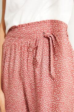 Womensecret Красные брюки капри с анималистичным принтом и орнаментальной каймой коричневый