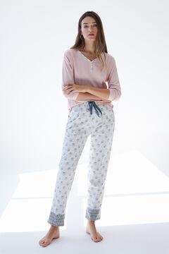 Womensecret Серая длинная пижама из органического хлопка розовый