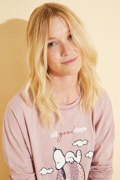 Womensecret Хлопковая длинная пижама розового цвета «Снупи»  розовый