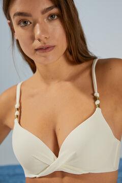 Womensecret Белый бикини-топ с эффектом пуш-ап из ткани пике бежевый
