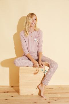 Womensecret Розовая длинная хлопковая пижама розовый