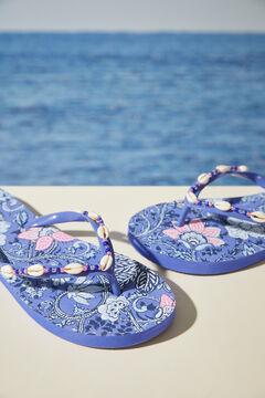 Womensecret Синие шлепанцы с цветочным принтом и ракушками голубой