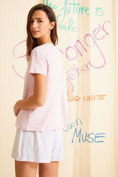 Womensecret Розовая пижама с верхом с короткими рукавами из 100 % органического хлопка розовый