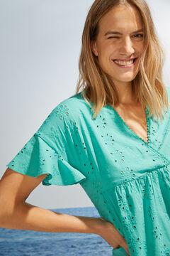 Womensecret Короткое зеленое платье с короткими рукавами зеленый