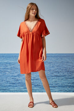 Womensecret Короткое платье оранжевого цвета с блестящими деталями красный