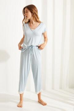 Womensecret Синяя пижама капри с короткими рукавами из невероятно мягкого трикотажа с пятнистым принтом зеленый