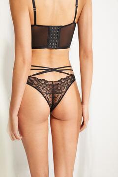 Womensecret Черные кружевные трусики-бразилиана с перекрестными тесемками черный