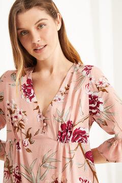 Womensecret Ночная рубашка миди с короткими рукавами и цветочным принтом розовый