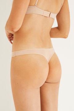 Womensecret 3 microfiber thongs pack бежевый