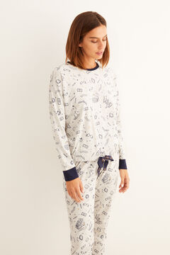 Womensecret Серая длинная пижама из хлопка «Гарри Поттер» голубой
