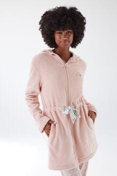 Womensecret Розовый бархатный халат на молнии розовый