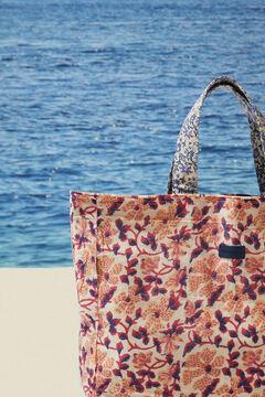Womensecret Большая двусторонняя сумка с цветочным принтом из 100 % хлопок голубой