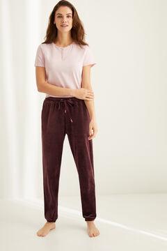 Womensecret Бордовые брюки из эластичного бархата Super Comfort цветной