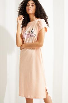 Womensecret Оранжевая ночная рубашка миди из хлопка с полосатым принтом «Снупи» красный