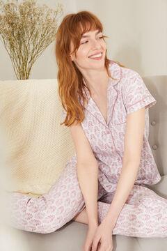Womensecret Длинная пижама в рубашечном стиле из 100 % экологичного хлопка розового цвета розовый