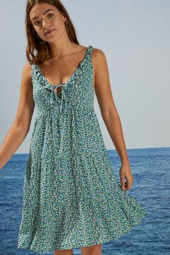 Womensecret Короткое платье с цветочным принтом из экоматериалов  голубой