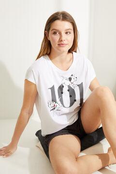 Womensecret Короткая хлопковая пижама с жаккардовым узором «101 далматинец» белый