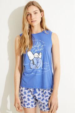 Womensecret Короткая пижама с верхом на бретелях из 100% хлопка «Снупи» голубой